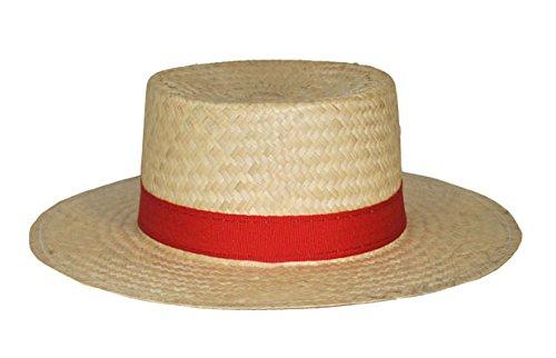Gondoliere Stroh Hut mit roter (Hut Kostüm Gondoliere)