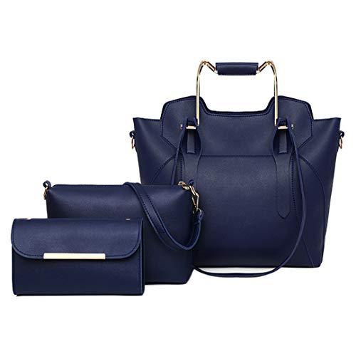 3 Teile/Satz Frauen verbund Taschen pu Leder Casual Handtasche umhängetasche Blue -
