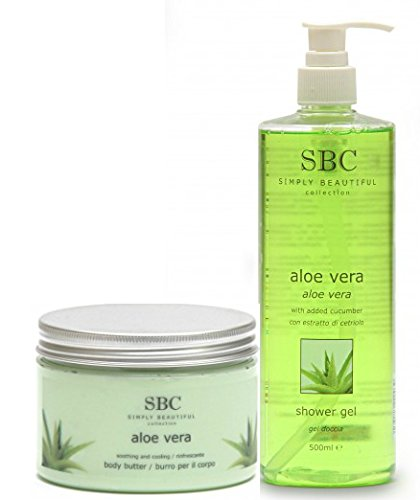 SBC Aloe Vera Duo: Bath & Shower Gel 500ml and Body Butter 450ml, ideal for after sun soothing by SBC