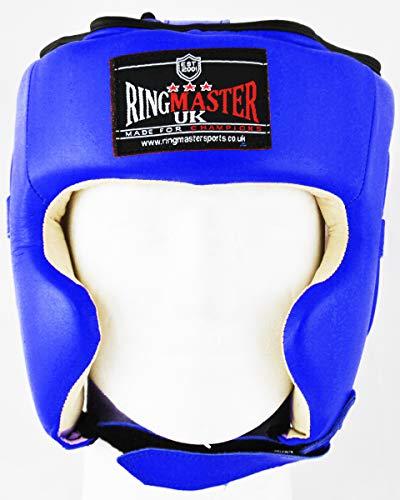 Ringmaster UK Casco Protector Para Boxeo Piel Azul y Blanco, hombre mujer, Azul/blanco