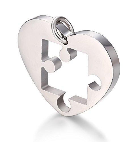 Jstyle Schmuck verliebte Paare Anhänger Halskette Puzzleanhänger Herz Form Freundschaft Anhänger Kette für Liebe Herren Damen