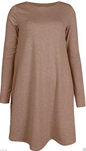 RE Tech UK Langärmliges Damen Midi einfarbig ausgestellt eine Linie Skater Swing Kleid Jersey T-Shirt Mokka