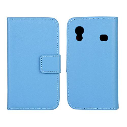 UKDANDANWEI Samsung Galaxy Ace Custodia - Premio PU Custodia Protettiva Portafoglio Flip Stand Case Cove per Samsung Galaxy Ace S5830 S5830i Blu