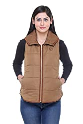 Trufit Sleeveless Solid Womens Tan Suede Piping Golden zip Polyetser Polyfill Jacket
