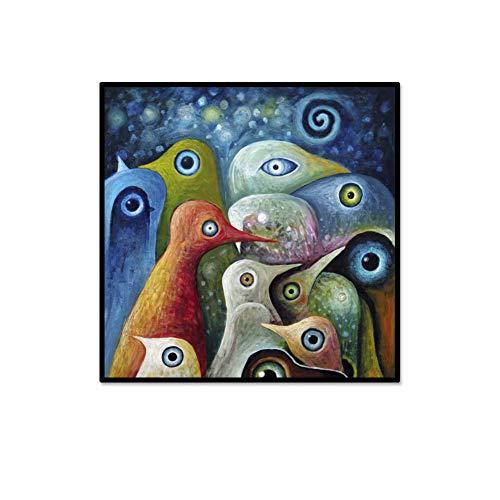 Abstract Multi Color (YCOLLC Tier Einzelne Malerei Multi-Color Abstract Square Birds Leinwanddruck Bild Moderne Wand Kunst Home Living Büro Wanddekor)
