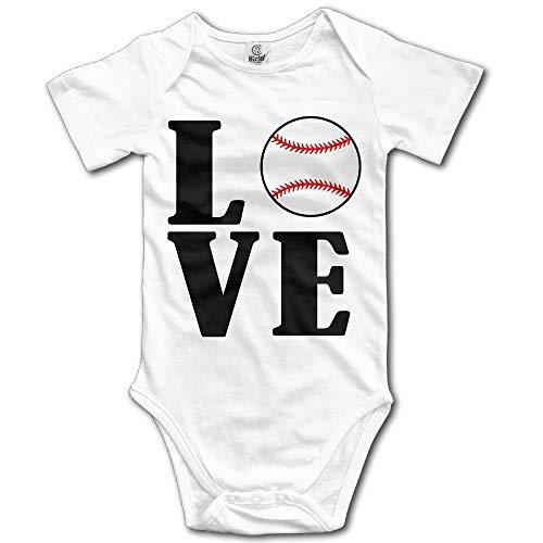 TKMSH Love Baseball Newborn Babys Short Sleeve Jumpsuit Outfits White Baseball Infant Bodysuit