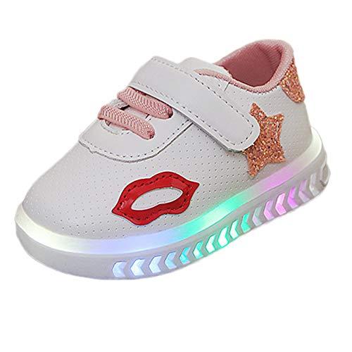 21f2a9b6a YanHoo Estrellas Velcro Luces LED Hombres y Mujeres Zapatos Ocasionales  Zapatillas Brillantes Luces Zapatos Niños Bebés