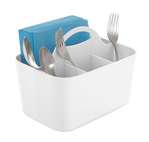 mDesign Silverware, Flatware Caddy Organizer for Kitchen Countertop Storage, Dining Table - White