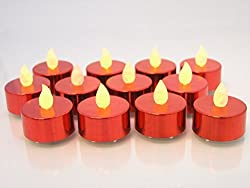 Red Candles - Set of 12 Red LED Tealight Candles - Flameless Candles - Colored Candles Flickering Candles - Use as Wedding Decorations, Restaurant Candles Centerpiece Candles, Christmas Candles