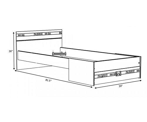 Parisot Stoff Bed Plus Schublade, 90x 200cm (Lattenrost nicht enthalten)