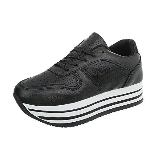 Ital-Design Sneakers Low Damen-Schuhe Schnürsenkel Freizeitschuhe Schwarz, Gr 38, Ll1706- (Design Sneaker)