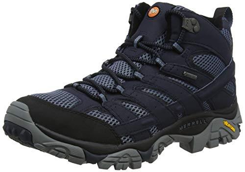 Merrell Herren Moab 2 Mid GTX Trekking-& Wanderstiefel, Blau Navy, 44 EU (Wasserdichte Schuhe Herren Merrell)