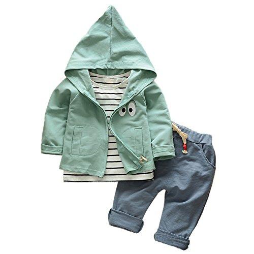 Baby Boy Girl Set Gestreift Langarm Shirt Unterwäsche + Capri Pants + Auge Gedruckt Mantel 3 Stück Kleidung Set