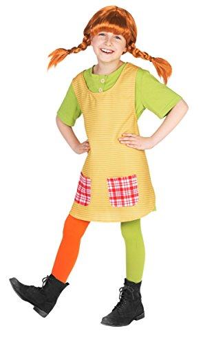 Für Pippi Kostüm Langstrumpf Erwachsene - Maskworld Pippi Langstrumpf Kostüm für Kinder - 3teilig - grün/gelb Lizenz Filmkostüm (98/104)