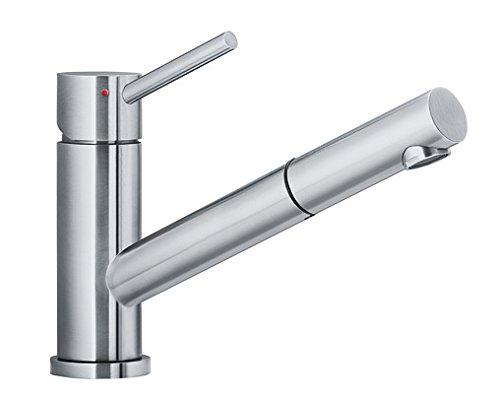 Blanco Altura-S, Einhandmischer mit ausziehbarer Schlauch-Brause / Küchenarmatur, Edelstahl gebürstet, Hochdruck, 1 Stück; 518719