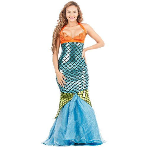Belsen Damen Sexy Cosplay Kostüm Party Meerjungfrau Kostüm Damenkostüm Nixe Mermaid (Blau) (Kleine Meerjungfrau Halloween-kostüm)