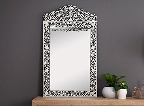 Bone Inlay CRESTED Spiegel, holz, schwarz, 120 cms (Height) x 3 cms (Depth) x 70 cms (Width)
