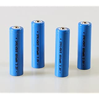 LiFePo4 IFR 14505 Akku AA 4er Set 600mAh 3,2V 14500 Button Top Batterie Lithium-Eisen-Phosphat Akku Solar Flat-Top Batterie