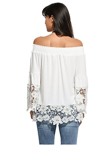 Romanstii Frauen Casual Sommer Aus Schulter Slash Nacken Flare Hülse Lace Crochet Shirt Bluse Tops Weiß