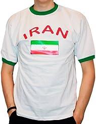 BRUBAKER Herren oder Damen Iran Fan T-Shirt Weiß Gr. S - XXXL
