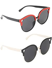 Stol'n Kids Oval Sunglasses Combo Pack Of 2 Pieces For Girls/Black And Red/Black And White
