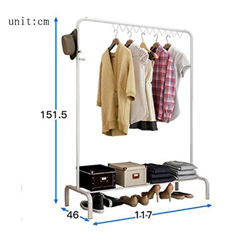 GYC Hölzerne Haushalts-Aufhänger, Wand-Aufhänger, Eisen-Welle - Art Multifunktionshaushalt Modernes minimalistisches Floorstanding Aufhänger-Schlafzimmer-Kleiderbügel 117 * 46 * 151.5Cm, Wand-Tür-Rüc Wellen-eisen
