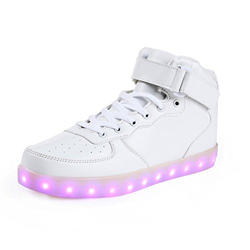 Charging LED Lighted Luminous Couple Casual Sport Shoes High Top Sneakers for Unisex Men Women White Size 37 (Womens Light Up Schuhe)