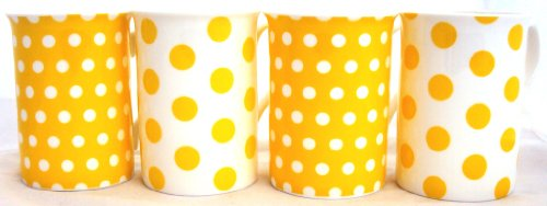 Gelb Dots & Spots Tassen, Fine Bone China Set von 4gelb Tassen, Hand-dekoriert in Großbritannien - 4 Fine China