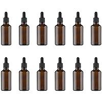 HEALLILY 12 Piezas Botellas de Aceite Esencial de 30 Ml Botellas de Gotero de Vidrio Ámbar Contenedor de Viaje Pequeñas Botellas de Maquillaje
