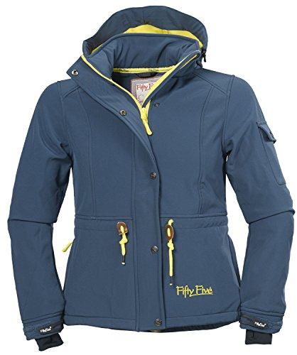 Softshell-Jacke | Funktions-Jacken für Damen von Fifty Five - Dacre midnight/yellow 46 - Outdoor-Bekleidung mit abtrennbarer Kapuze