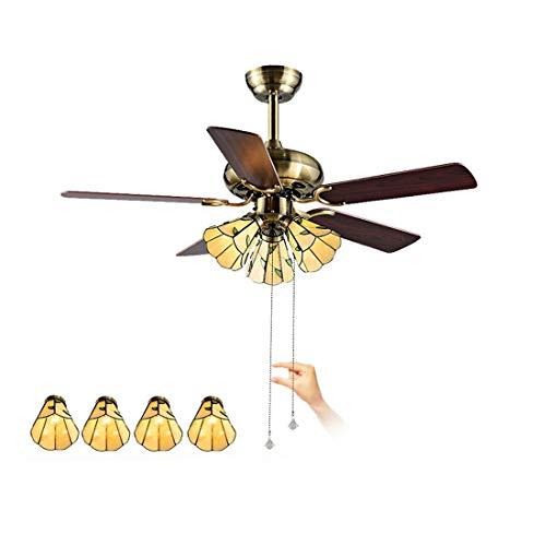 Ventilador de techo de estilo Tiffany con luces, colgante del ventilador regulable LED con pantalla...