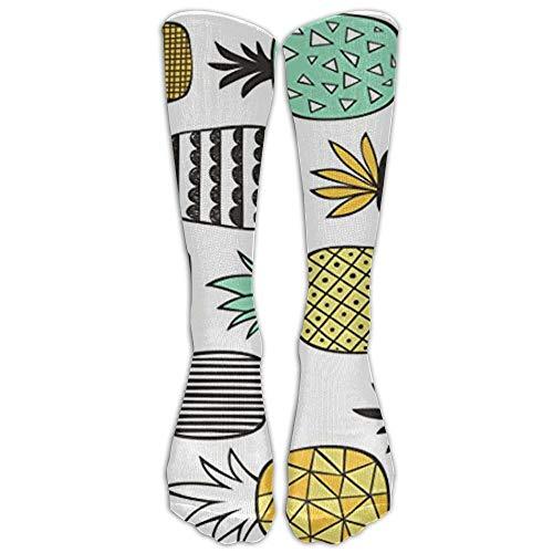 khgkhgfkgfk NEUE Ananas geometrisch auf weiß Athletic Tube Strümpfe Damen Herren Klassiker Kniestrümpfe Sport lange Socke Einheitsgröße 19,68 Zoll -