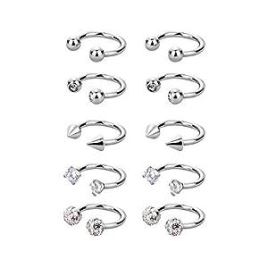 10 Stück Edelstahl Hufeisen Hoop Nasenringe Hoop chirurgische Piercing für Helix Tragus Knorpel Lippe Augenbraue, 16 Gauge, 5 Stile