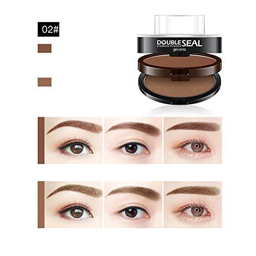 3 Schablonen Augenbrauen-Stempelkit Augenbrauenpuder, wasserdichtes Augenbraue-Tönungs-Farbtonset Zarte geformte Stirnpuder (02 Hellbraun + Hellbraun) -