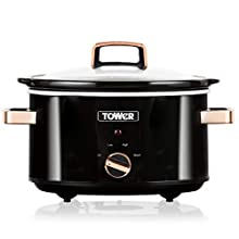 Tower T16018RG Stainless Steel Slow Cooker with 3 Heat Settings, Keep Warm Function, Tempered Glass Lid, Removable Ceramic Pot, 3.5 Litre, 210 W, Black and Rose Gold