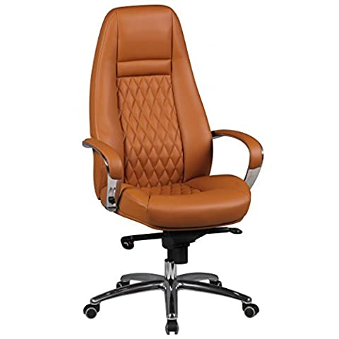 Bürostuhl AUSTIN Echt-Leder Caramel Schreibtischstuhl 120KG Chefsessel hohe Rückenlehne mit Kopfstütze X-XL h
