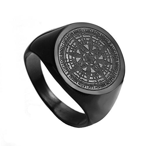 HIJONES Herren Edelstahl Retro Kompass Mysteriösen Ring 2 Farben Schwarz Größe 68 -