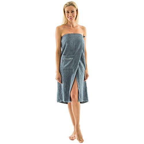 Flauschiger Saunakilt | für Damen und Herren, verschiedene Farben | Damen lang | 90 x 150 cm | Baumwolle Frottee Wellness grau | aqua-textil 0010399