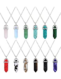 12 Pieces Hexagonal Crystal Pendants Chain Necklaces Pointed Quartz Stone Bullet Gemstone Necklaces with Storage Bag, 12 Colors