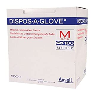 Ansell Dispos-A-Glove, Powder Free Examination Gloves, Large, Box of 100