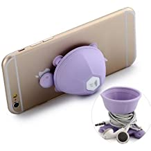 Turtle Mobile Stand   Turtle Mobile Holder   Silicone Turtle Cell Phone Holder Suction Cell Phone Stand Earphone Wrap Cable Headphone Cord Winder 2-in-1 Multifunctional for All Iphone Purple By Flintstop