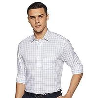 Arrow Men's Checkered Regular Fit Formal Shirt, Large, Blue