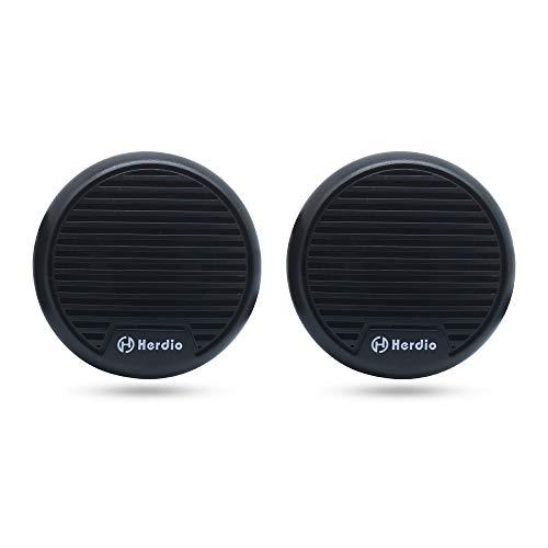 Herdio 3 Zoll 12 V Marine Boot Bluetooth Stereo Lautsprecher Motorrad Lautsprecher Digital Media MP3 Motorrad Audio Entertainment System Rund Unterputz Montage mit Max Power 140 Watt 1 Paar schwarz Runde Marine-lautsprecher
