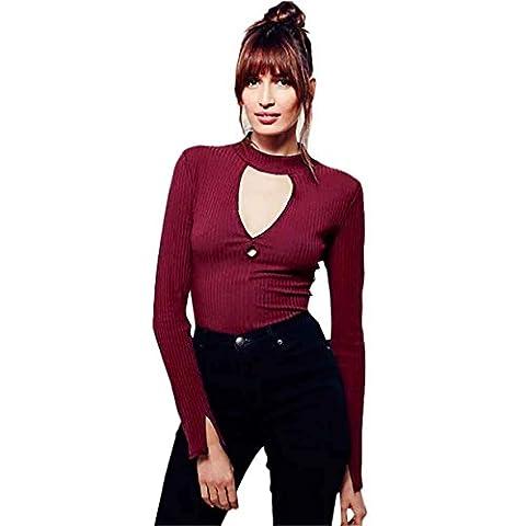 Mode féminine Chemise , Reaso Évider à manches longues Bandage hauts écourtés (34, Noir)