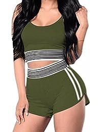 47e6d62725ff HOMEBABY Women Striped Tank Top +Short Pants Set