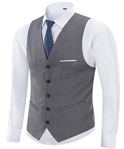 Yingqible Herren Anzugweste Weste V-Ausschnitt Ärmellose Westen Slim Fit Anzug Business Hochzeit Smoking Sakko Weste Elegant (Large, Grau) -
