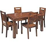 MP ENTERPRIESES Sheesham Wood Wooden Dining Table Set with 4 Chairs (Teak Finish)