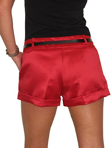 ICE (1266) Short Sexy Brillant En Satin Ceinture Rouge