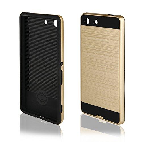 EGO® Hard Case Schutz Hülle für Sony Xperia M5, Silber Metallic Effect Aluminium Brushed Handy Cover Schale Bumper Etui Top-Qualität Gold + Glas