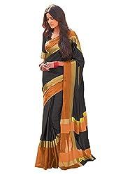 Vivera Women's Poly Cotton Saree (VRANGI_BLACK2_Black)